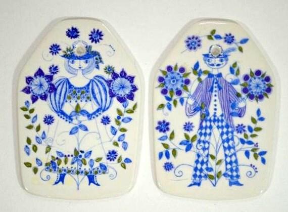 Vintage Scandinavian Turid Figgjo Flint Lotte Collection Wall Plaques
