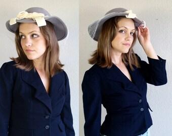 vintage 80s VELVET BOW light gray Liz Claiborne NETTED felted wool hat chic