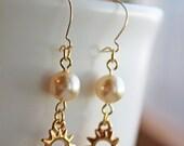 SALE: Sunny Swarovski Pearl Earrings