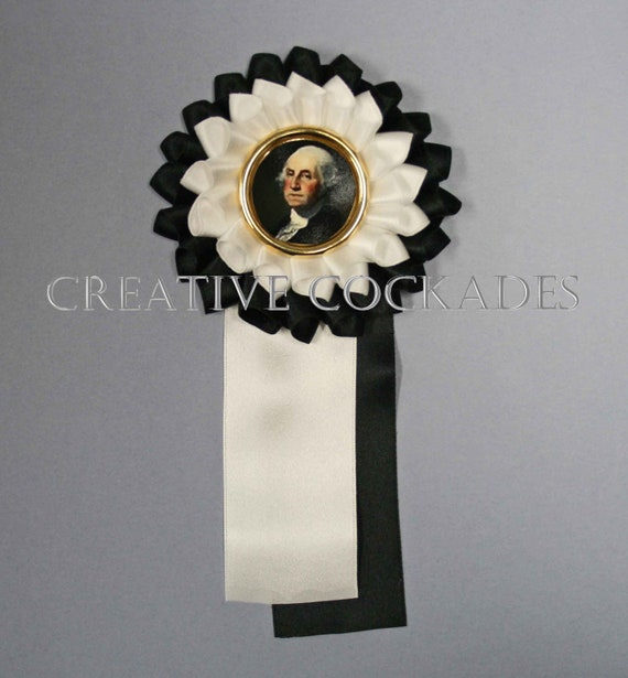 George Washington Silk Cockade with Gold Pin