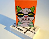 Cat with Glasses colorful wood art blocks