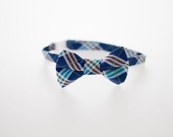 Little Boy Bow Tie - Navy Plaid