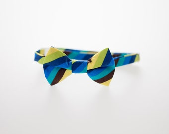 Boys Bow Tie - Blue, Brown, Green, and Yellow Stripes