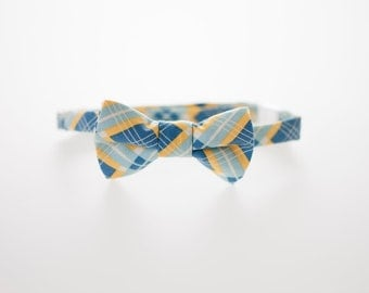 Little Boy Bowtie - Blue and Yellow Squares