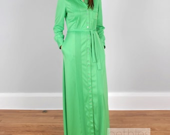 1960s Dress Maxi Dress Green Maxi Dress Green Hostess Gown 60s Loungwear Vintage Designer Claire Haddad Long Sleeve Green Dress Long Dress