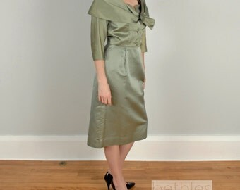 1950s Dress Wiggle Dress Dress and Jacket Green Suit Vintage 50s Mad Men Suit Womens Olive Green Suit Dress Suit