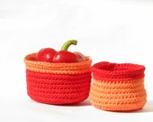 coral bowls - cotton crochet over a rope  - summer home decor