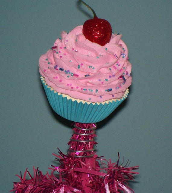 Original Fake Cupcake Tree Topper Pink Candy Land Christmas Tree Holiday Decor Party Photo Props