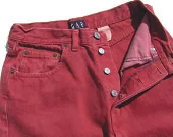 GAP Button Fly Red Jeans High Waist Womens Size 8 Ankle Length Medium M Grunge Hipster Rocker