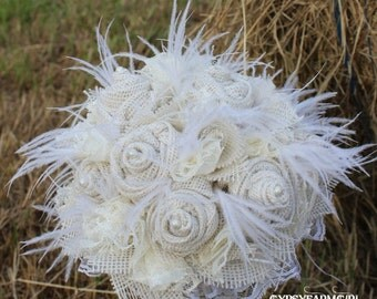 All White / Cream Burlap, Lace, Feathers, and Pearls Rustic Chic Bridal Wedding Bouquet, Fabric Bouquet, Keepsake, Bride's Bouquet