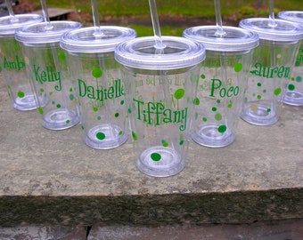 Will you be my Bridesmaid/Maid of honor/Matron of honor tumbler, 1 Bridesmaid proposal cup with polka dots personalized with name. BPA Free