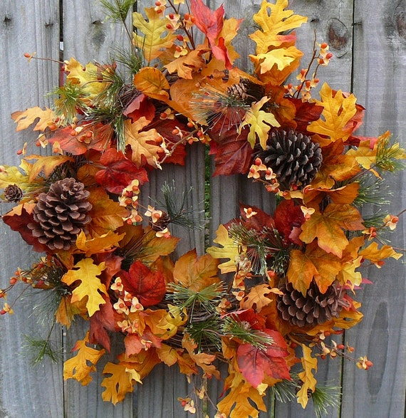 Fall Wreath - Fall / Autumn Wreath - Fall Wreath in Natural Colors with Pine Pine Cones and Bittersweet