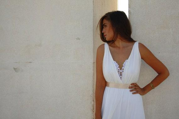 Wedding dress deep  V neck line ,wedding dress with embroidery, simple wedding dress,indie wedding dress