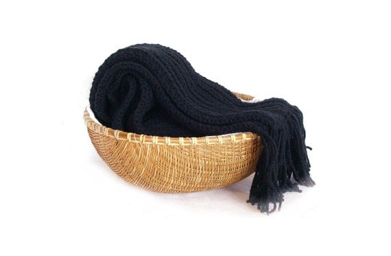 Men scarf knit merino wool and acrylic - extra long in black with fringes