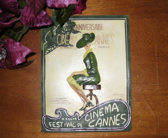 8th Anniversary Festival Cinema De Cannes Chalkware Plaque / Vintage French Wall Decor / SALE