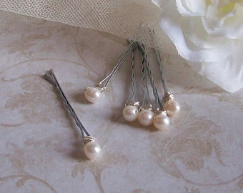 Freshwater Pearl Hair Pins - White Pearl Wedding Bobby Pins - Set of Six - Made to Order