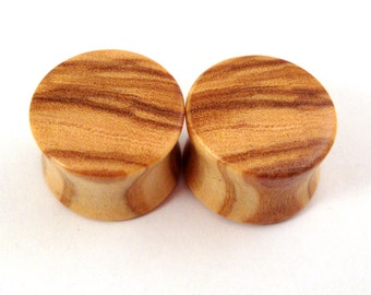 "Olivewood Wooden Plugs PAIR - 2g (6.5mm) 0g (8mm) 00g (9mm) (10mm) 7/16"" (11mm) 1/2"" (13mm) 9/16"" (14mm) 5/8"" (16mm) 3/4"" (19mm) Wood Gauges"