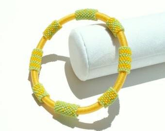 Bangle Bracelet, Beaded Peyote Stitch - Yellow