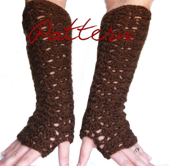Pdf crochet pattern elbow length lace fingerless gloves long opera