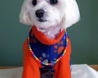 2 Leg Fleece Dog Sweater, Dark Blue With Paw Prints Design