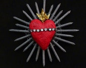 Art Sculpture Sacred Heart Found Object Wall Art Aluminum Nails Upholstery Tacks Swarovski Rhinestones OOAK  13