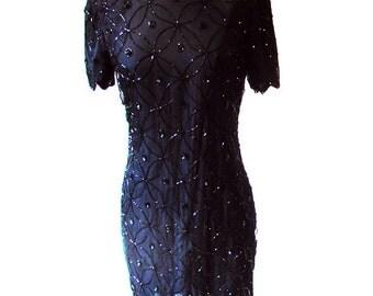 Vintage Black Beaded Dress, Silk Sequin Dress, 80s Black Party Dress, Black Dress