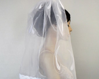 Shoulder Length Bridal Veil White Romantic Tulle Lace Tear Drops Embroidery Alternative Wedding Handmade. OOAK