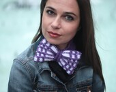 Hand Knit Bow Tie, Knitted Headband with Bow, Knit Hair Bow, Women Hair Accessories by Solandia, purple tartan,women fashion, knitted gift