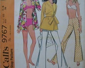 Fabulous Vintage 60's Young JUNIOR BATHING SUIT, Pants and Top Pattern Factory Folded