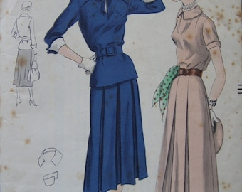 Fabulous Vintage 40's Misses Vogue Pattern TWO-PIECE DRESS Factory Folded