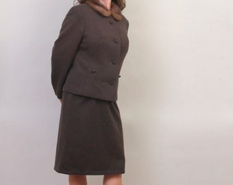 1960's dress suit in cocoa brown
