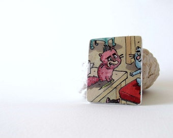 Cat brooch, sale, cat jewelry, newspaper book eco friendly jewelry, pink cat, cartoon cat, caricature accessory, quirky brooch, funky brooch
