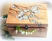 Romantic butterfly - original painting box  Weddings card box