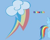 Rainbow Dash inspired full skirt - made to order - My Little Pony