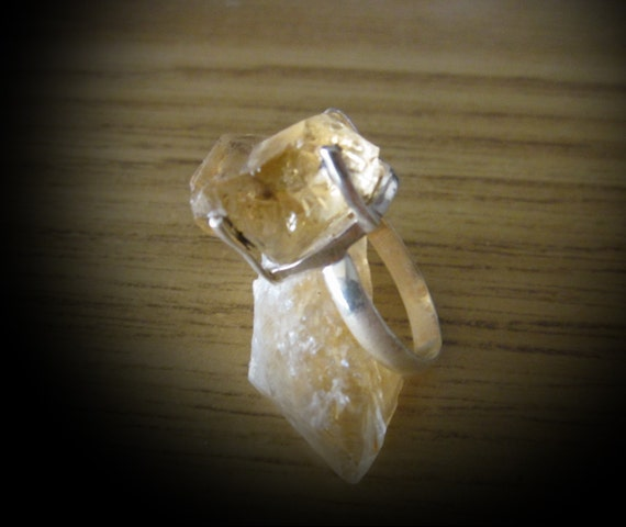 Natural Stackable CITRINE-Rock Crystal set in 925 Sterling Silver Ring (Stamped), Size 7-1/2