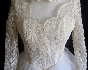 Elymor 1950's wedding dress. New Look Illusion Lace.Winter White bridal dress. Complete Full Circle Tulle skirt. Tea length 34 26