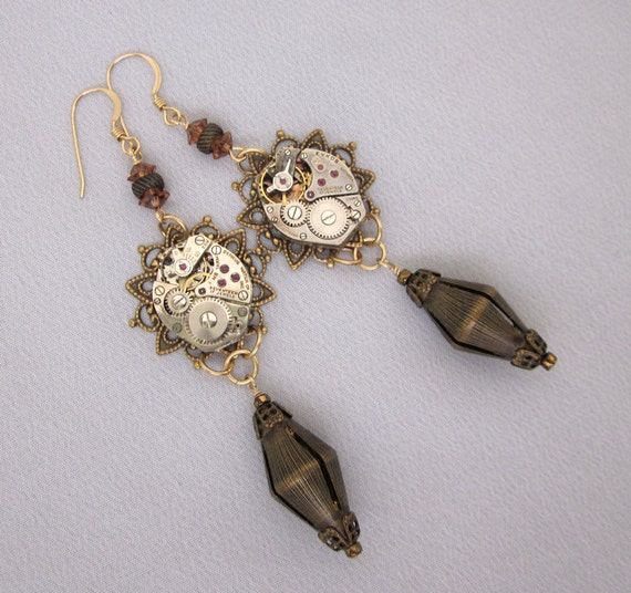 Watch Parts Jewelry, Watch Movement Earrings, Vintage Repurposed Chandelier Earrings Steampunk Mixed Metal Unique Jewelry Assemblage Jewelry