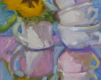 """Reflections Cups Stacked Dishes Sunflower """"Standing Among Cups"""" 8"""" x 8"""""""