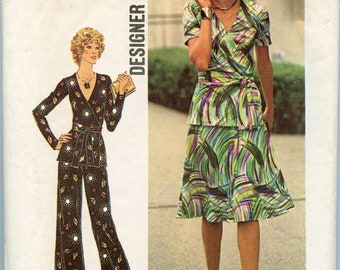 1970s Simplicity 7295 Designer Fashion Misses' Two-Piece Dress or Wrap Top and Pants Bust 36 UNCUT