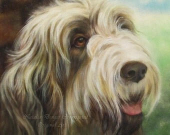 "ORIGINAL Painting, 12x12"", Italian Spinone, Dog, Animal Face, Eyes, Landscape, Dog Portrait, Green, Brown"