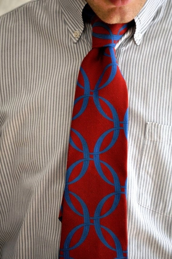 Vintage Mod Necktie with Geometric Red & Blue. Eveteam Homespunsociety