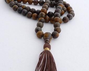 108 beads mala - brown stone mala - chrysantenum stone mala - 108 8mm beads mala - tassel necklace
