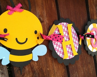 Bumble Bee Happy Birthday Banner.  Happy Bee Day Banner.  Bee Banner.  Bug Banner.  Garden Banner.  Bee Birthday.  Bee Baby Shower.