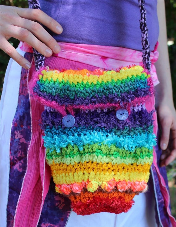 Crochet Rainbow Bag : Rainbow Freeform Crochet Bag Fully Lined by Twizzlez on Etsy