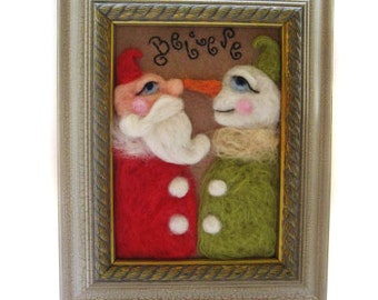 Whimsical Santa - Whimsical Snowman - Christmas Decor - Felted Santa