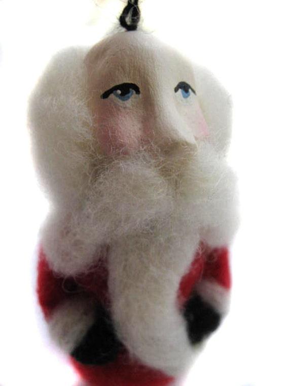 Santa Ornament - Felted Santa - Felted Ornament - Christmas Ornament