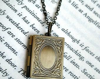 Book locket necklace- Antique bronze book locket- Graduation gift- Unique-  Picture locket- Square locket-Teacher gift- Photo locket