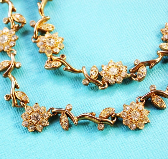 Vintage Collar Necklace, Clear Rhinestone, Gold Daisy Flowers, Floral Leaves Vines, 1960s Mid Century Mad Men, Wedding Bridal Jewelry