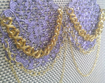 Statement Earrings, Fringe Earrings, Gold Earrings, Big Bold Earrings, Filigree Earrings, Vintage, Purple Earrings, Summer Fashion Sale