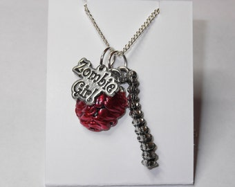 Gruesomely Gorgeous Zombie Girl Charm Necklace